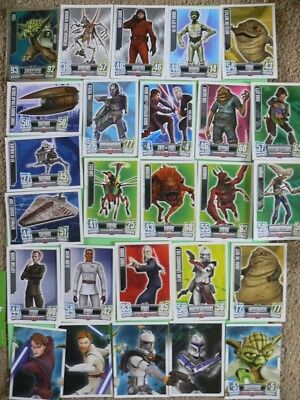 25 Star Wars Force Attax Trading Cards. Green Backs. 2011. All Different.