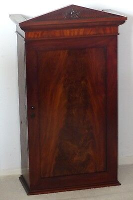Antique Early 19th Century Flame Mahogany Hanging Wall Cabinet / Cupboard