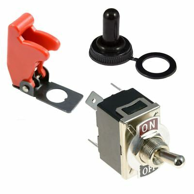 On-Off 2 Position Standard 12mm Toggle Flick Switch DPST + Cover