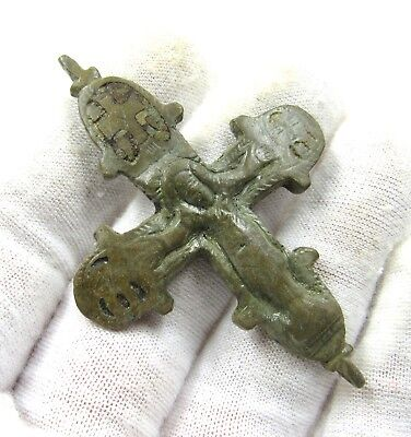 Authentic Medieval Crusaders Era Bronze Reliquary Cross W/ Jesus Christ - H706