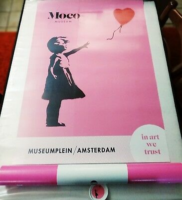 BANKSY  - Girl with Red Ballon - Moco Museum Exhibition officiel Poster .