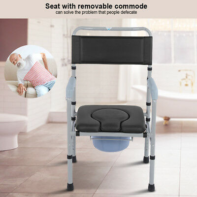 Deluxe Mobile Dual Shower Chair Toilet Commode With Padded Seat Pod Bathing
