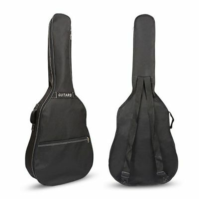 Guitar Gig Bag Case Acoustic Black Padded Soft Carry Double Straps Oxford Back