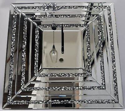 Square Wall Clock Sparkly Diamond Crush Silver Mirrored 3D Large 50x50cm