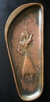 """Vintage Mid Century Modern """"ANOPPEN"""" Copper Relief Wall Hanging Plaque Israel"""