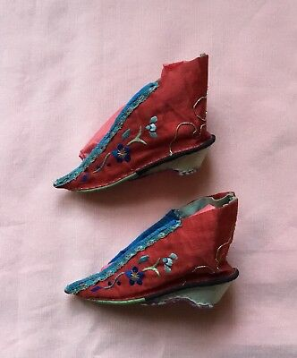 Pair Of Silk Antique Chinese Embroidered Bound Feet Or Lotus Shoes. Very Small