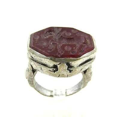 Authentic Post Medieval Silver Ring W/ Carnelian Horse - Wearable - H723
