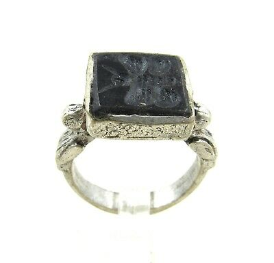 Authentic Post Medieval Silver Ring W/ Intaglio Butterfly - H724