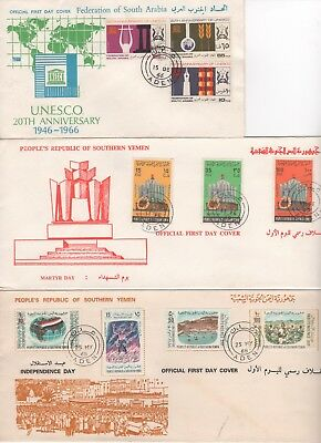 Sth Yemen 1966-69 FDCs (5)-UNESCO-Girl Guides-Indep Day-Martyr Day-ILO 50th Aniv