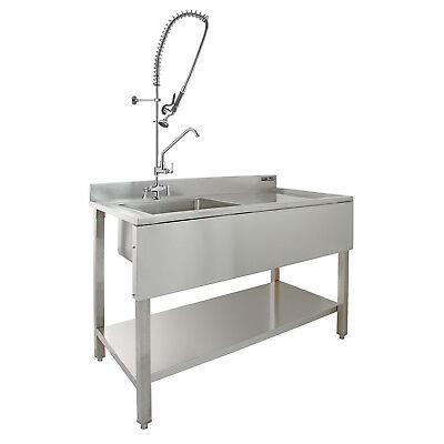 Commercial Sink Catering Kitchen RH Drainer 1.0 Bowl & Pre-Rinse Spray Mixer Tap