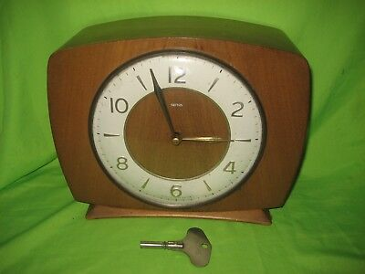Vintage Smiths Wooden Mantle Clock with Key
