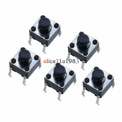 100PC 6x6x6mm Miniature Micro Momentary Tactile Tact Touch Push Button Switch UK