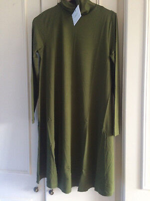 ASOS Maternity Swing Dress With High/Polo Neck & Long Sleeves ~16 UK ~ Green
