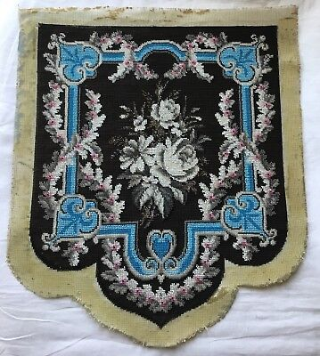 A Superb Unused Antique Victorian Beadwork +Tapestry Banner, Fire Screen. Roses.