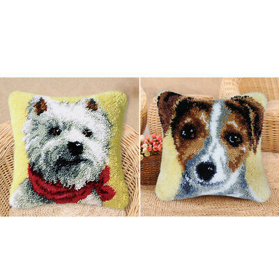 2 Sets Latch Hook Rug Completed Kits for Kids Learn to Make Dog Pillow Cover