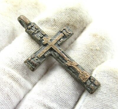 Authentic Late Medieval Bronze Cross Pendant - Wearable - H750
