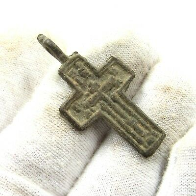 Authentic Late Medieval Bronze Cross Pendant - Wearable - H751