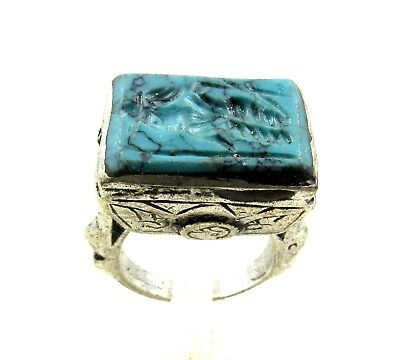 Authentic Post Medieval Silver Ring W/ Intaglio Warrior - Wearable - H764