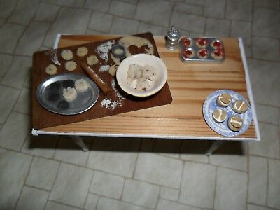 Dolls house 1/12th scale bakery prep table with items