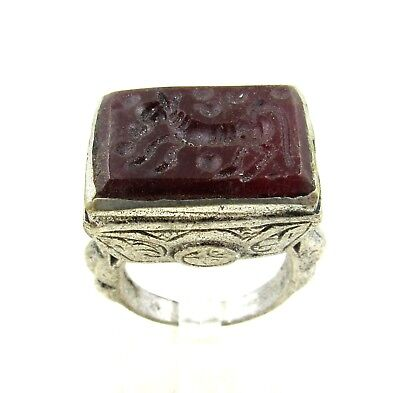 Authentic Post Medieval Silver Ring W/ Carnelian Horse - Wearable - H766