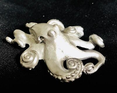 "Pewter Silver Octopus Tentacles Fish Sea Ocean Beach 2-3/4"" Figurine"