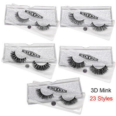 Thick Natural Long 3D 100% Mink Hair Eye Lashes Extension False Eyelashes