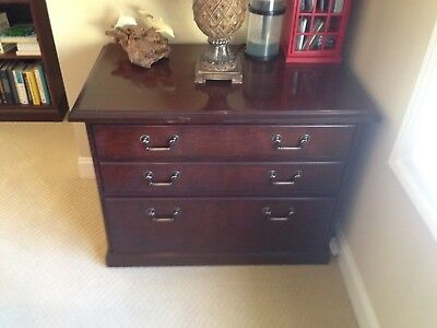 """Kimball Presidential solid wood credenza 36""""X22""""X30""""mahogany finish w/3 drawers"""