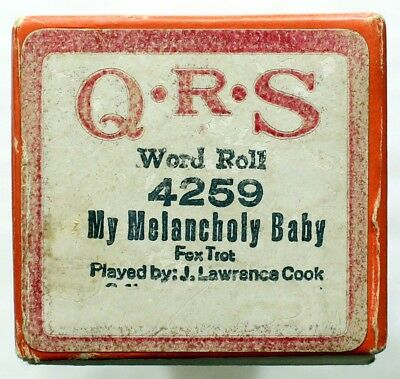 """J. LAWRENCE COOK """"My Melancholy Baby"""" QRS 4259 [PIANO ROLL]"""