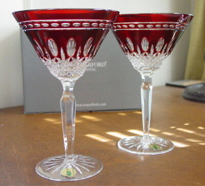 Waterford Crystal Clarendon Ruby Red Martini Glasses - New / Box!