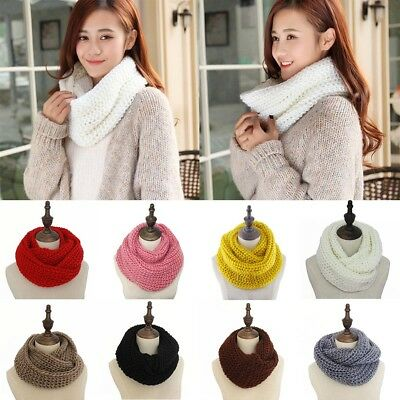 Men Women Winter Warm Infinity 2 Circle Cable Knit Cowl Neck Long Scarf Shawl #