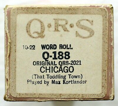 """MAX KORTLANDER """"Chicago (That Toddling Town)"""" QRS Q-188 [PIANO ROLL]"""