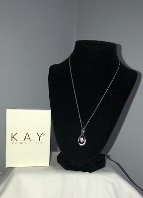 New Kay Jewelers Sterling Silver Blue White Diamond Infinity