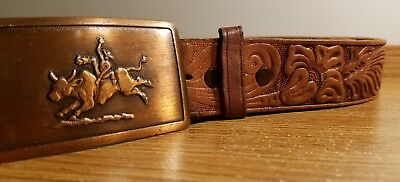 VINTAGE Brwn Leather Belt Tooled Top Grain 34 Bull Ride Cowboy Copper Buckle USA