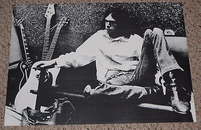 NEIL YOUNG with Guitars Black White Poster Early 1970's After The Gold Rush