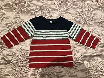baby boy red blue long sleeve T-shirt Top 6-9 months By M&S