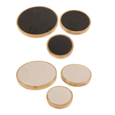 3Pcs/Set White Cream and Black Solid Wood Round Shape Jewelry Display Stand