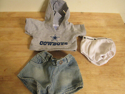 build a bear clothing nfl cowboys gray hoodies and jean short