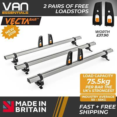 Peugeot Expert Roof Rack,(L2)2007-2016-3x Roof Bars Vecta Bars by Hubb Systems