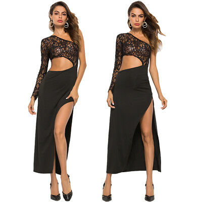 Women Ladies Lace One Shoulder High Slit Evening Party Long Maxi Dress Clubwear