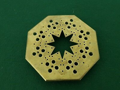 Antique Heavy Brass 15.5 cm Low 4 Footed Octagonal Star Pot/Kettle Trivet Stand
