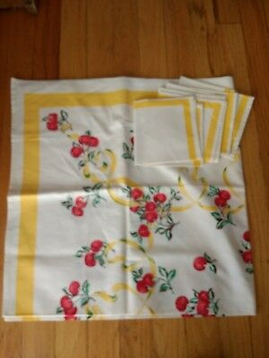 New Vintage Cherries Tablecloth And Napkins Set