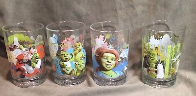 MCDONALD'S SHREK DRINKING GLASSES, Set of 4,Shrek The Third, Shrek Forever After