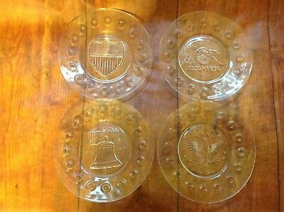 Bicentennial Plates, Set of 4, Clear Glass, Vintage Anchor Hocking