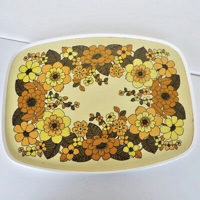 Vintage Retro 1970's Floral Tray Serving Tea Lap Flower Power Brown Yellow