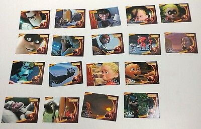 Lot of 18 Disney Pixar 2004 The Incredibles Trading Cards Collectibles