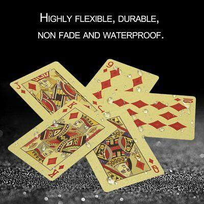 Durable 24K Gold Foil Plated Playing Card Adult Play Game Gold Foil Poker TW