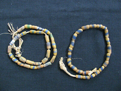 2 strands of sandcast powder glass beads~ multicolored, striped