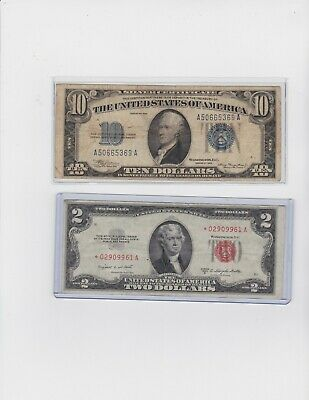 1934 $10 Blue Seal Silver Certificate &1953B $2 red seal star note *** lot 1 ea