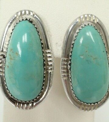 """Signed GD Sterling Post Back 1 1/4"""" by 3/8"""" Turquoise Color Stone Earrings"""