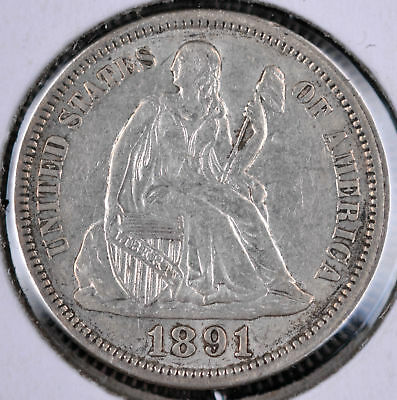1891 10C Seated Liberty Dime - Au
